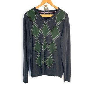 Tommy Hilfiger gray and green argyle sweater